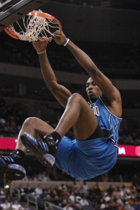 Dwight Howard doin' his best Throwback Shaq dunk impersonation.