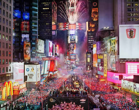 times square new year re-creation